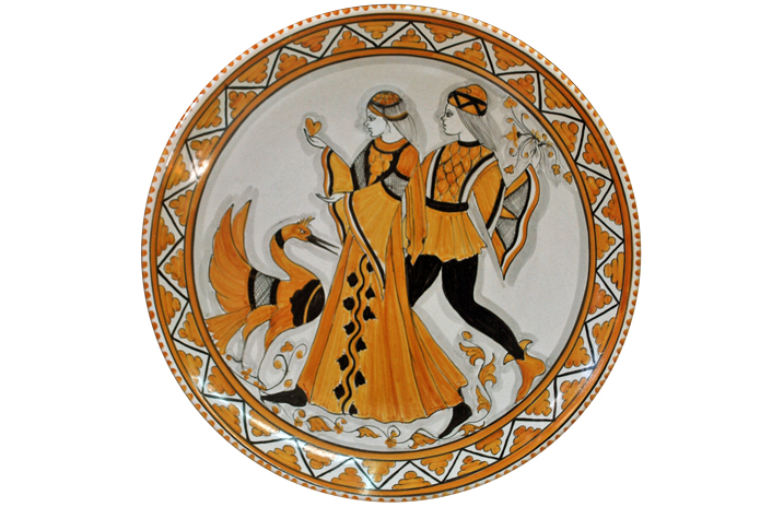 Orange Plate with Paggio, Dama and Swan