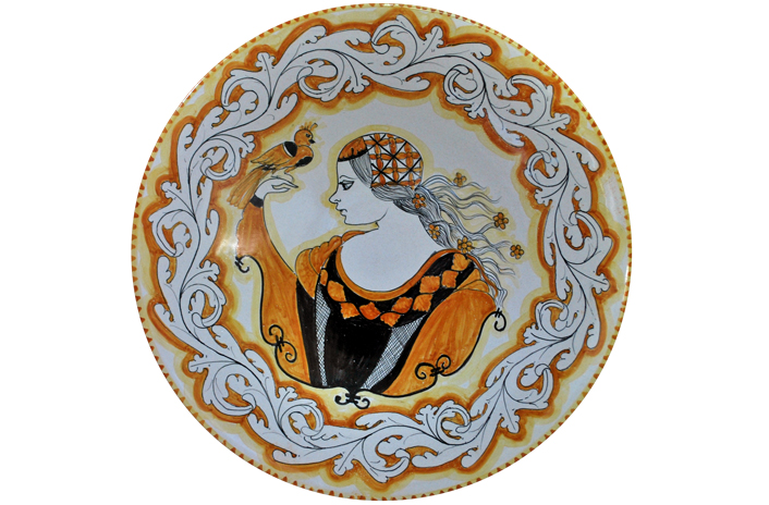 Orange Plate with Bust and Leaves