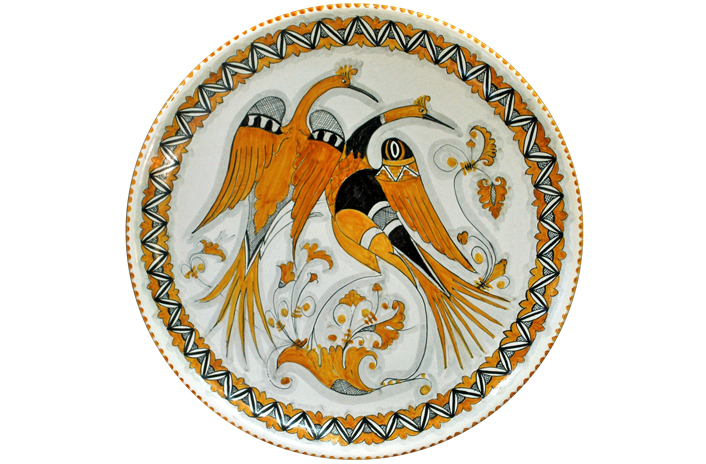 Orange Plate with Swans