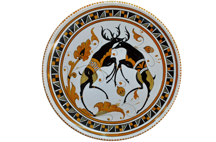 Orange Plate with Deer
