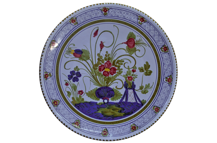 Large Floral Plate with Border