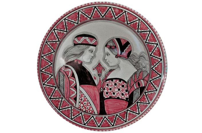 Rose Plate with Paggio & Dama