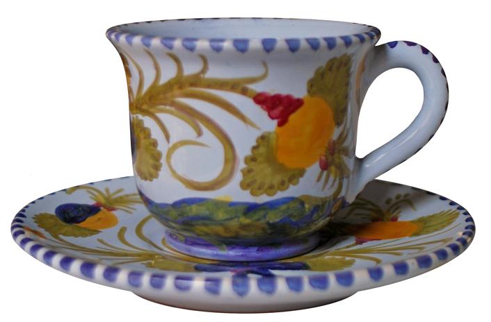 Tazza da Tè con Piatto Floreale
