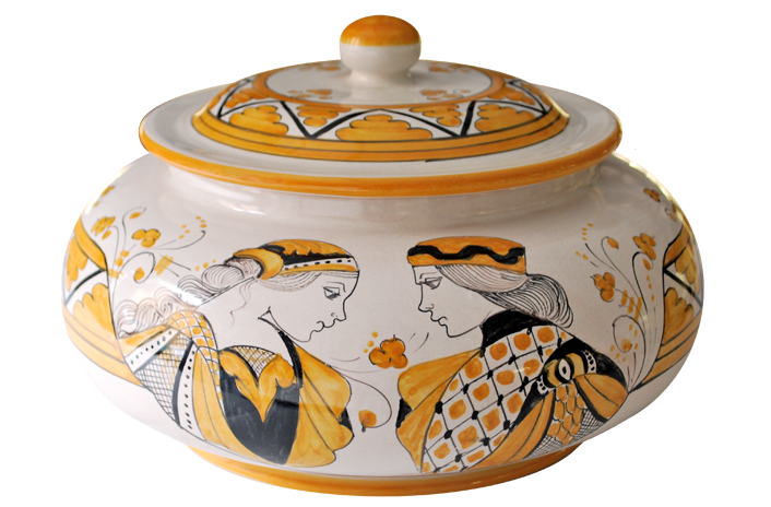 Orange Cookie Jar with Paggio & Dama